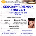 The Fall *Sensory-Friendly Concert* Series – Starts This Saturday, September 10th, 6:30pm.
